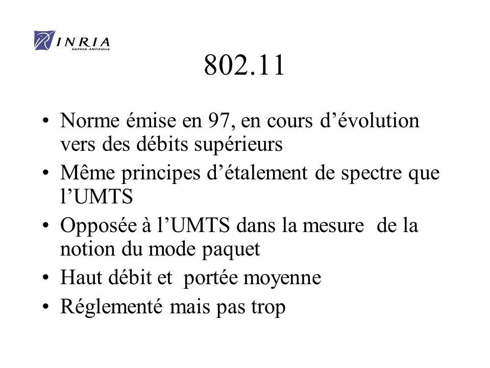 802.11 Norme émise en 97, en cours d'évolution vers des débits supérieurs. Même principes d'étalement de spectre que l'UMTS.