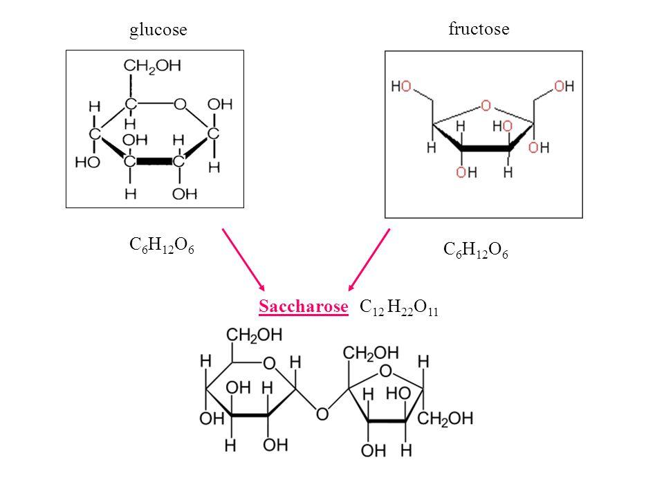 glucose fructose C6H12O6 C6H12O6 Saccharose C12 H22O11