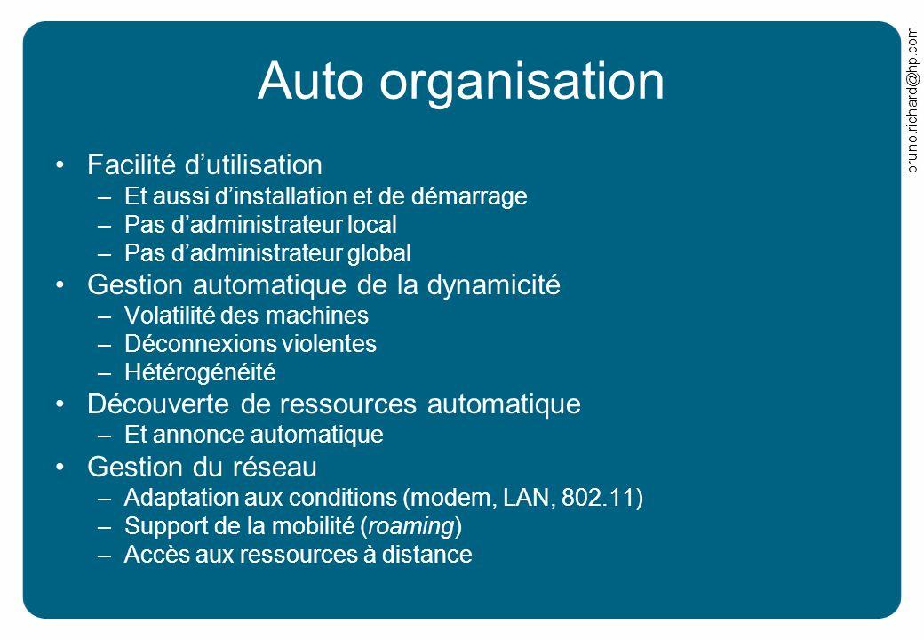 Auto organisation Facilité d'utilisation