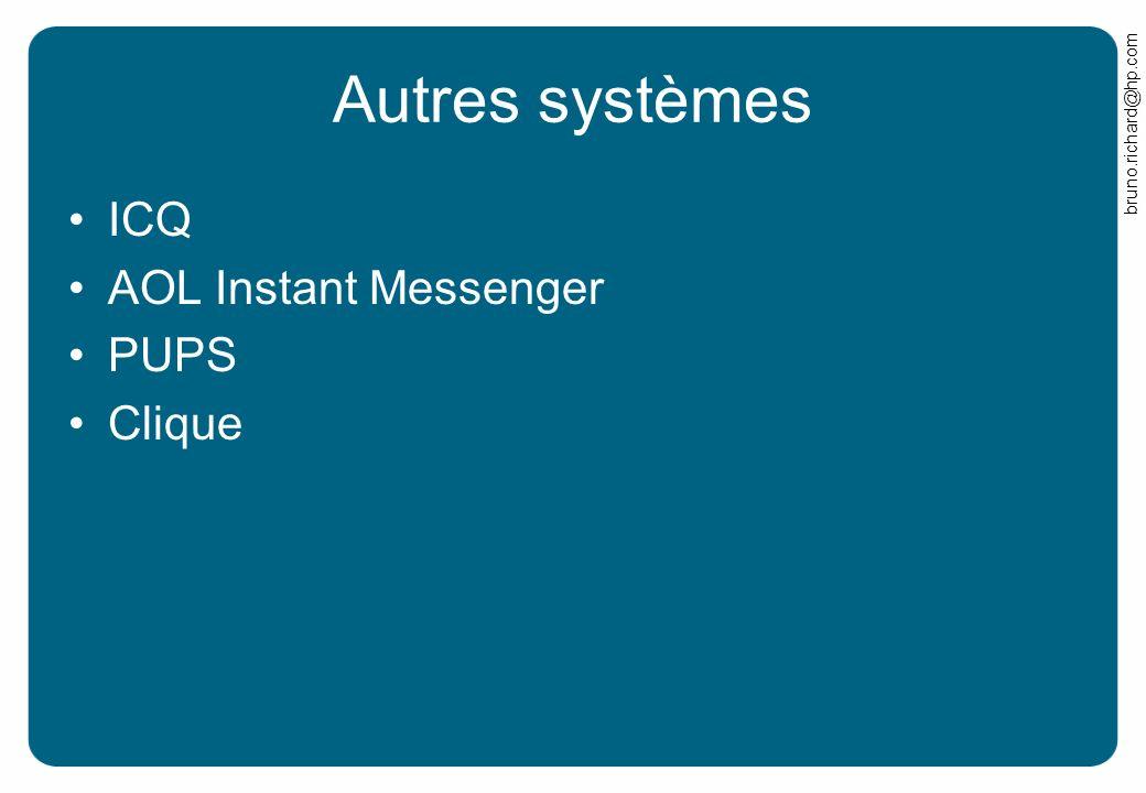 Autres systèmes ICQ AOL Instant Messenger PUPS Clique