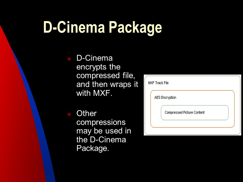 D-Cinema Package D-Cinema encrypts the compressed file, and then wraps it with MXF.