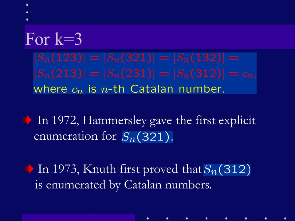 For k=3 In 1972, Hammersley gave the first explicit enumeration for
