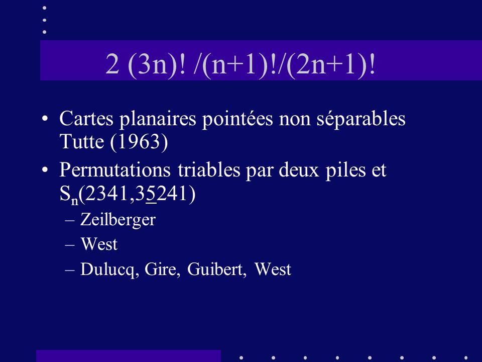 2 (3n)! /(n+1)!/(2n+1)! Cartes planaires pointées non séparables Tutte (1963) Permutations triables par deux piles et Sn(2341,35241)