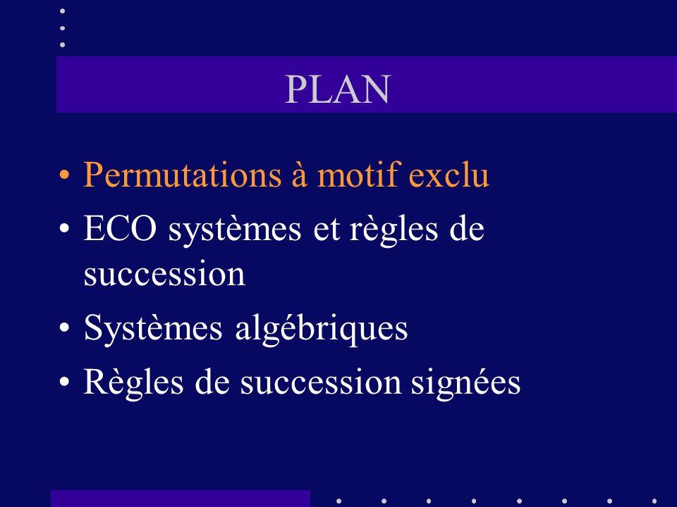 PLAN Permutations à motif exclu ECO systèmes et règles de succession