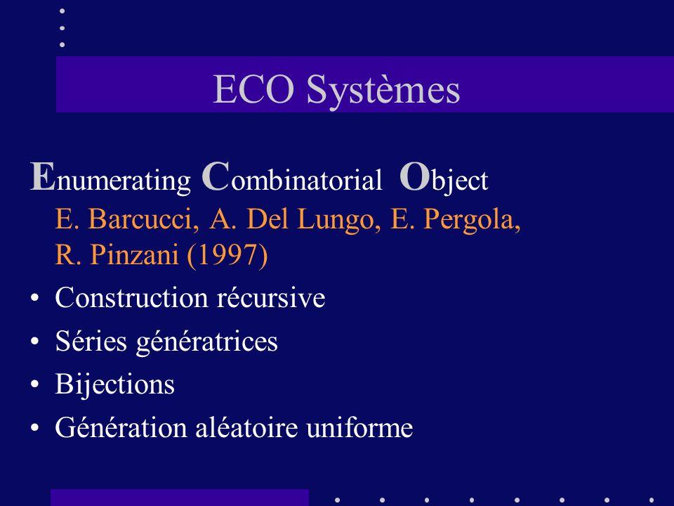 ECO Systèmes Enumerating Combinatorial Object E. Barcucci, A. Del Lungo, E. Pergola, R. Pinzani (1997)