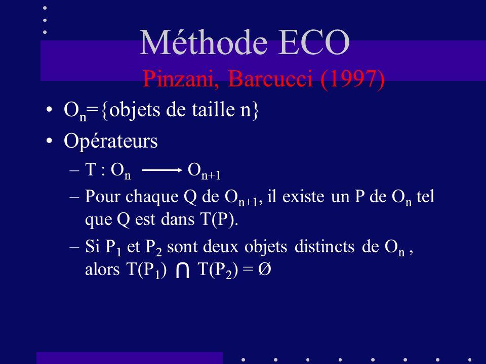 Méthode ECO Pinzani, Barcucci (1997) On={objets de taille n}
