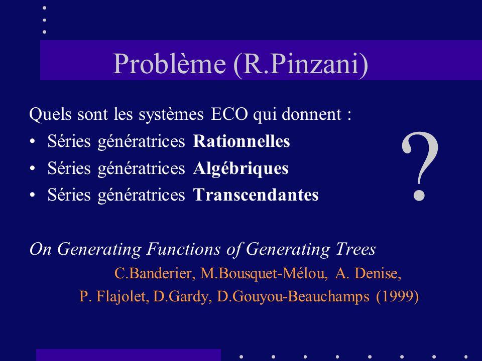 Problème (R.Pinzani) Quels sont les systèmes ECO qui donnent :