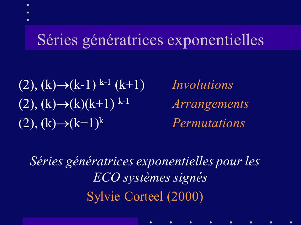Séries génératrices exponentielles