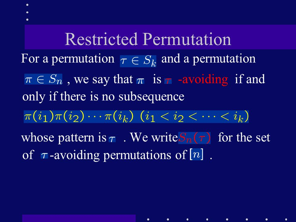 Restricted Permutation