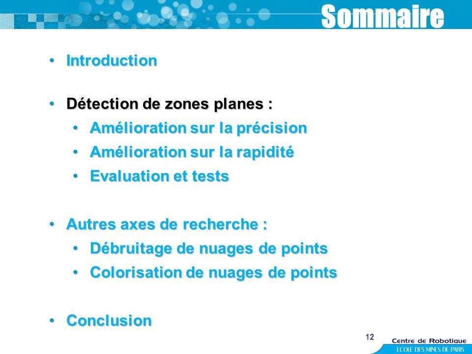 Sommaire Introduction Détection de zones planes :