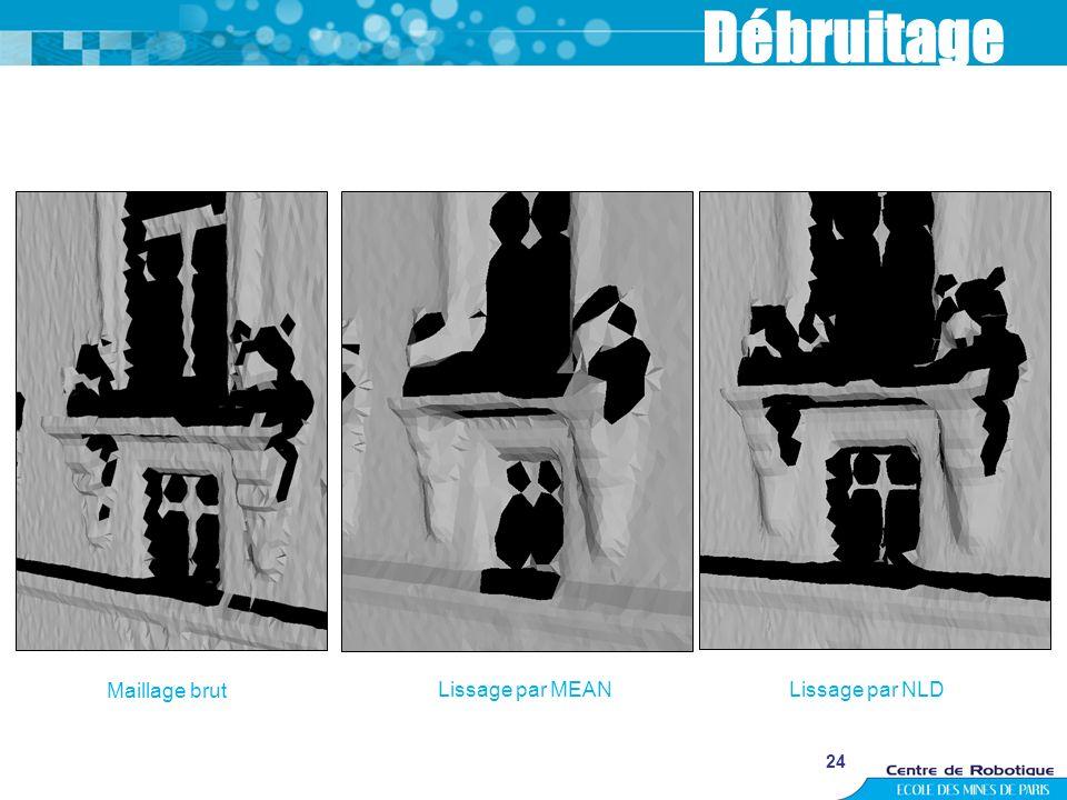 Débruitage Maillage brut Lissage par MEAN Lissage par NLD 24 24