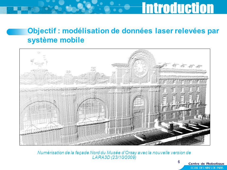Introduction Objectif : modélisation de données laser relevées par système mobile.