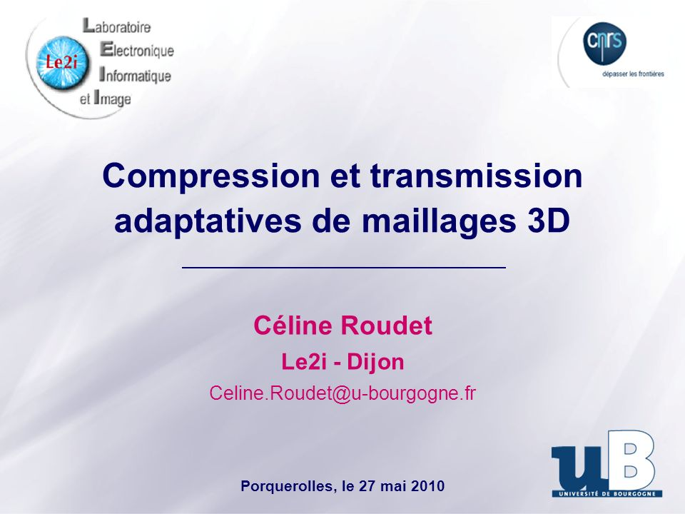 Compression et transmission adaptatives de maillages 3D