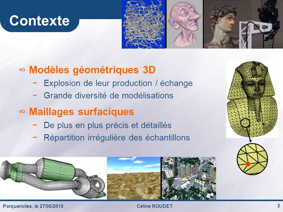 Contexte Modèles géométriques 3D Maillages surfaciques