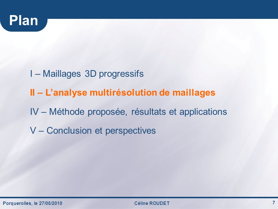 Plan I – Maillages 3D progressifs