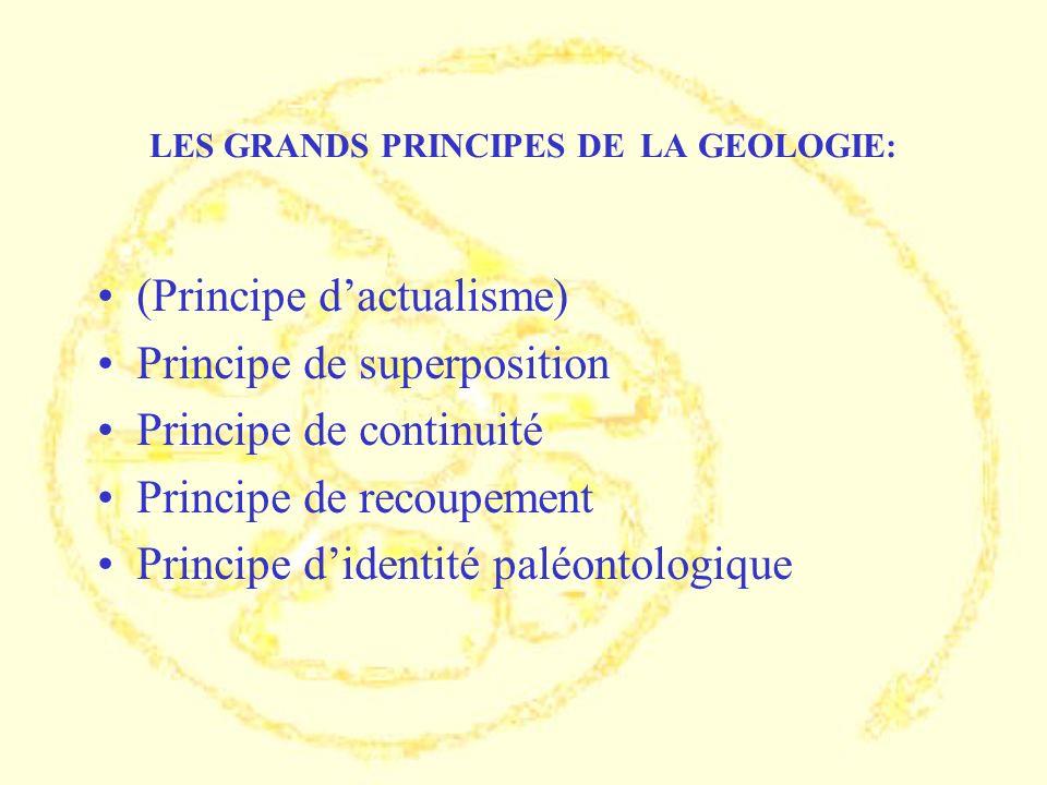 LES GRANDS PRINCIPES DE LA GEOLOGIE: