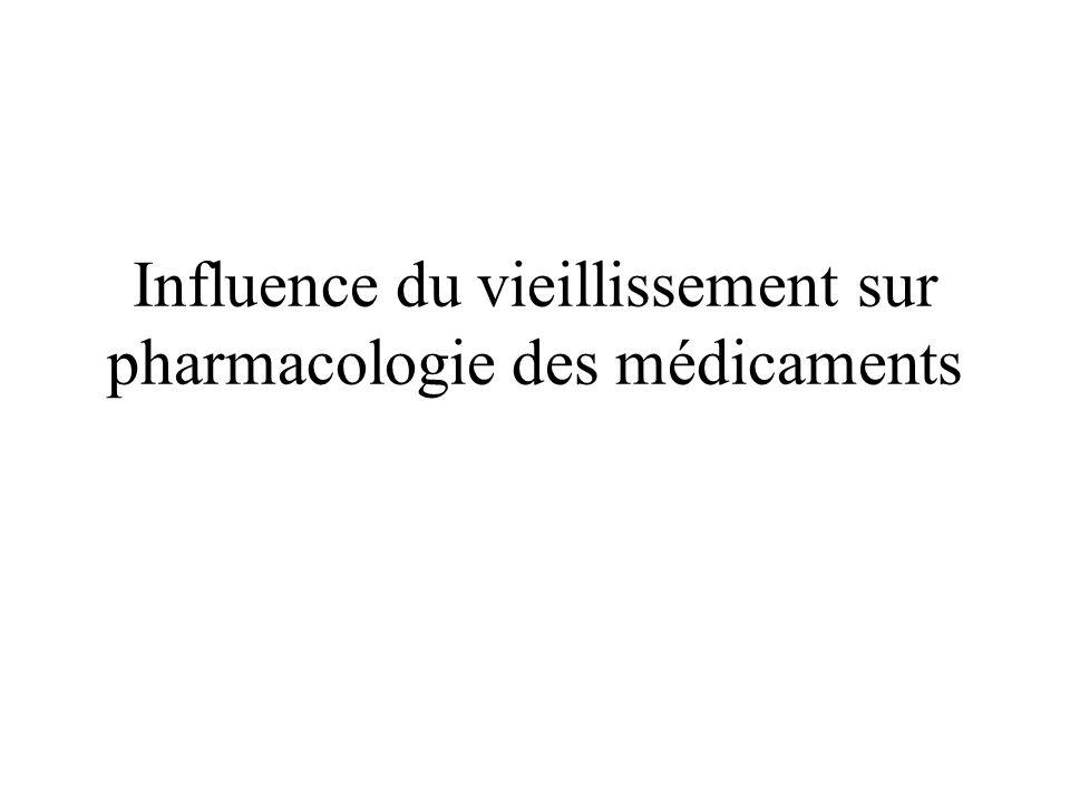 Influence du vieillissement sur pharmacologie des médicaments