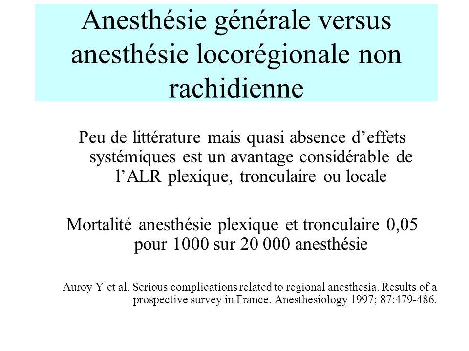 Anesthésie générale versus anesthésie locorégionale non rachidienne
