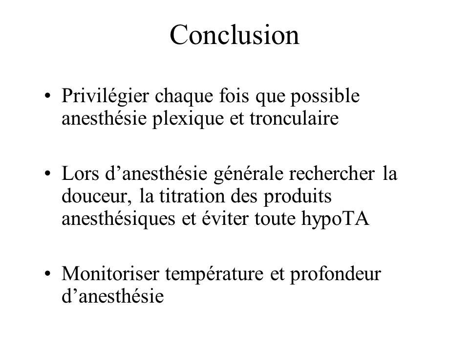 Conclusion Privilégier chaque fois que possible anesthésie plexique et tronculaire.