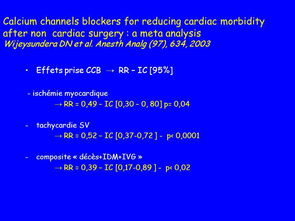Calcium channels blockers for reducing cardiac morbidity after non cardiac surgery : a meta analysis Wijeysundera DN et al. Anesth Analg (97), 634, 2003