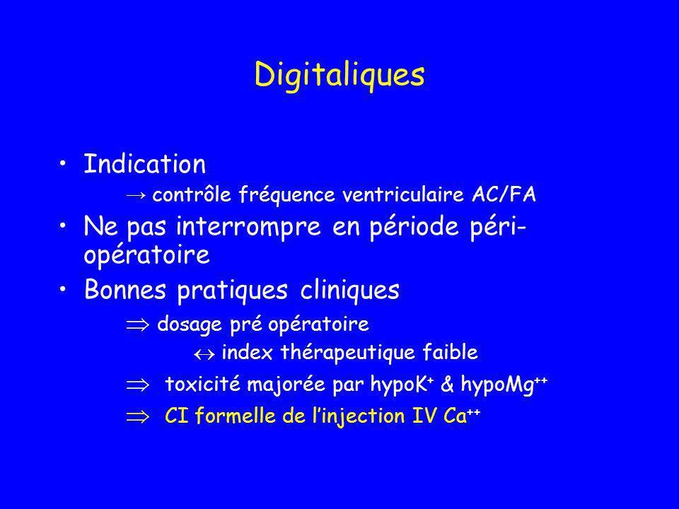 Digitaliques Indication Ne pas interrompre en période péri-opératoire