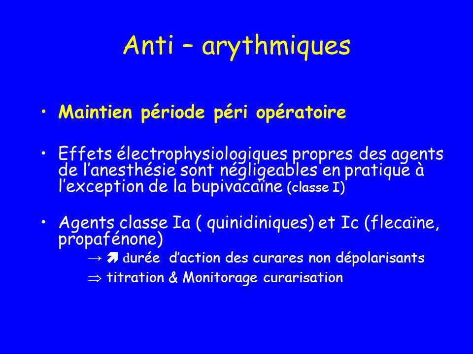 Anti – arythmiques Maintien période péri opératoire