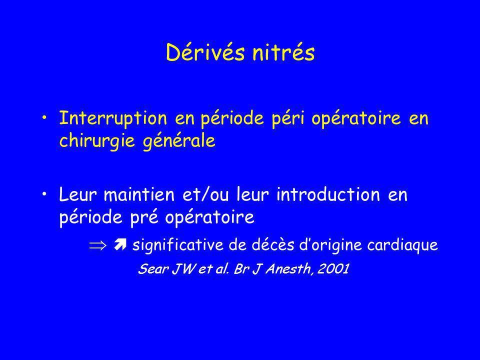 Dérivés nitrésInterruption en période péri opératoire en chirurgie générale. Leur maintien et/ou leur introduction en période pré opératoire.