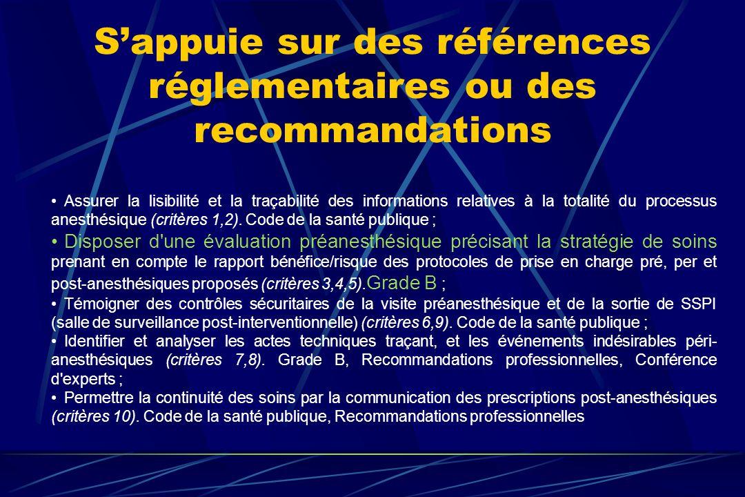 S'appuie sur des références réglementaires ou des recommandations