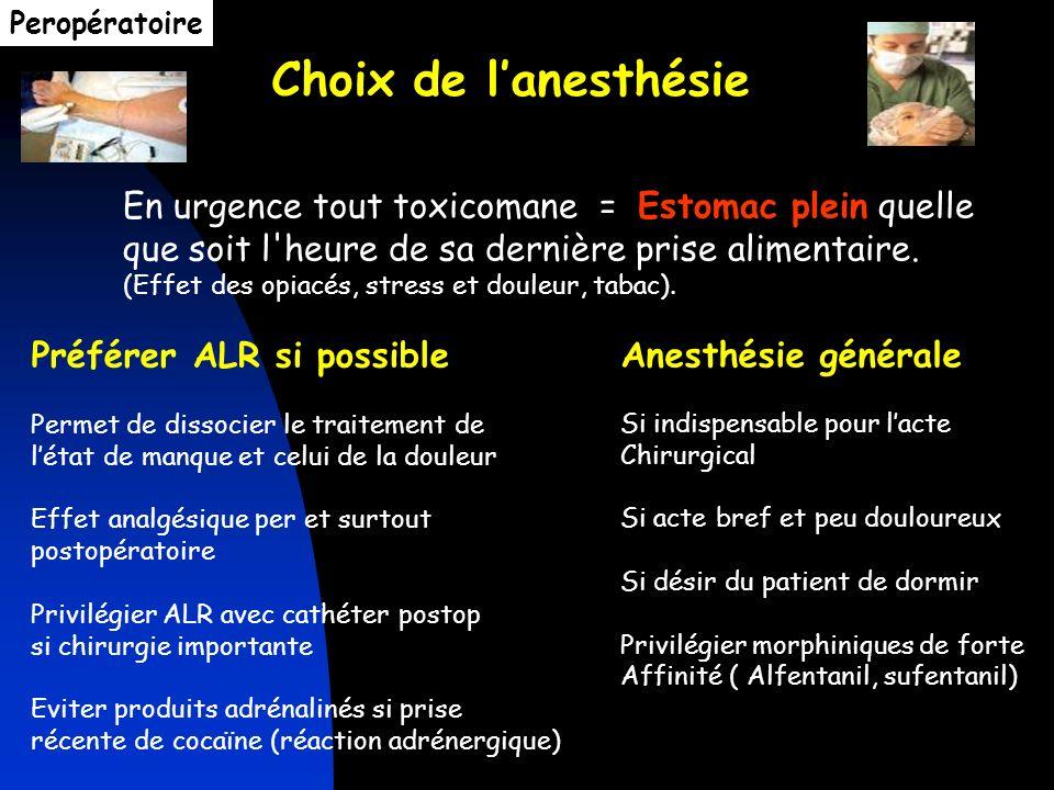 Peropératoire Choix de l'anesthésie. En urgence tout toxicomane = Estomac plein quelle que soit l heure de sa dernière prise alimentaire.