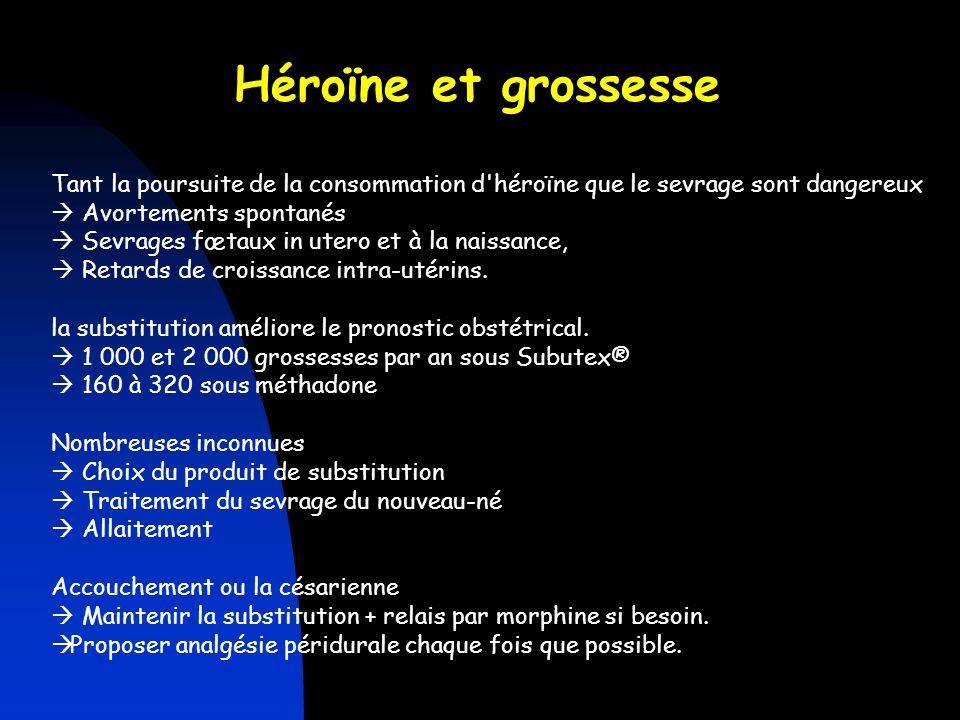 Héroïne et grossesse Tant la poursuite de la consommation d héroïne que le sevrage sont dangereux.  Avortements spontanés.