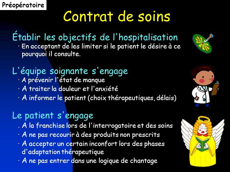 Préopératoire Contrat de soins. Établir les objectifs de l hospitalisation · En acceptant de les limiter si le patient le désire à ce.