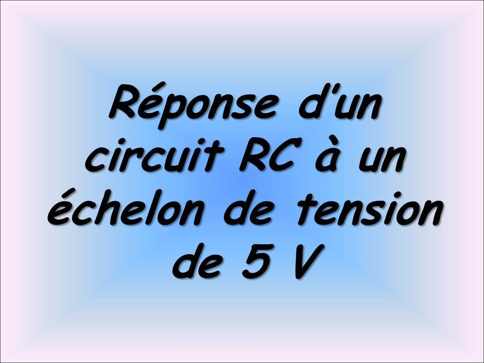 Réponse d'un circuit RC à un échelon de tension de 5 V