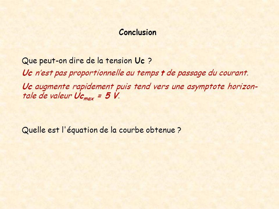Conclusion Que peut-on dire de la tension Uc Uc n'est pas proportionnelle au temps t de passage du courant.