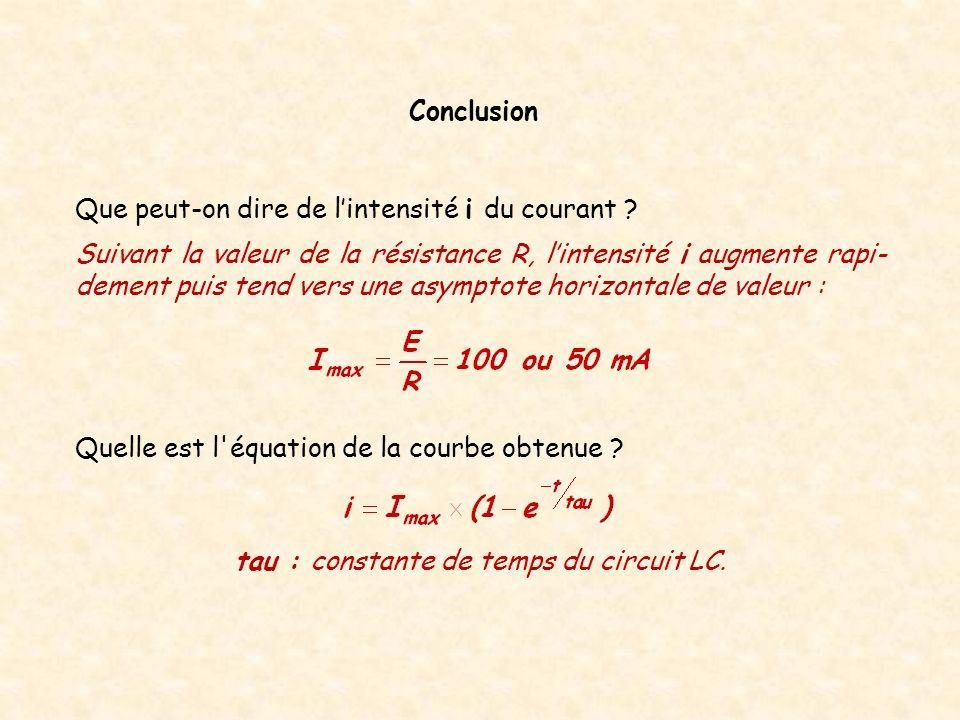 tau : constante de temps du circuit LC.