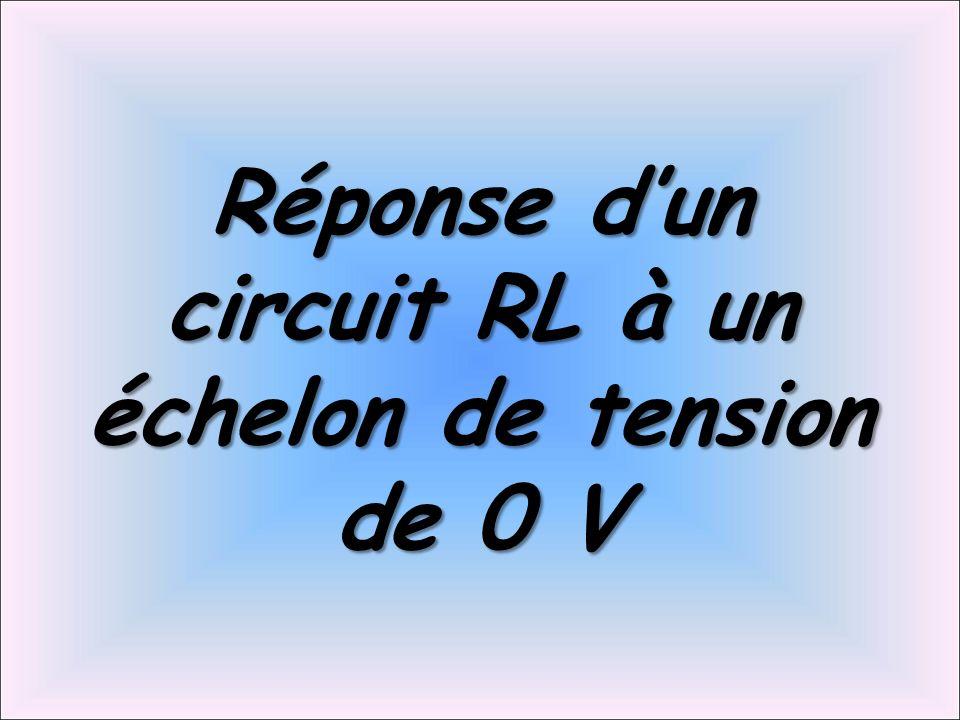 Réponse d'un circuit RL à un échelon de tension de 0 V