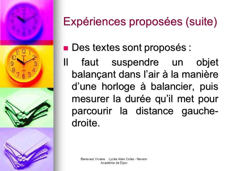 Expériences proposées (suite)