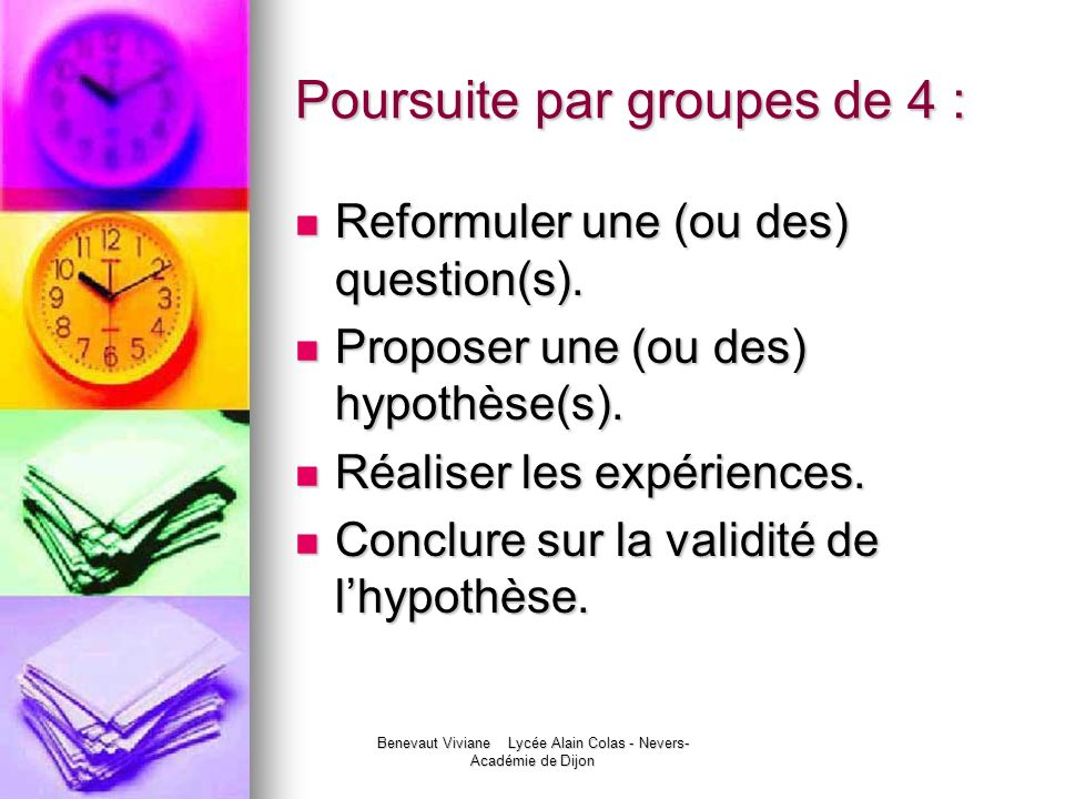 Poursuite par groupes de 4 :
