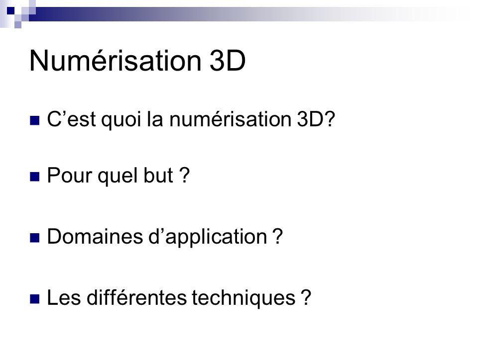 Numérisation 3D C'est quoi la numérisation 3D Pour quel but