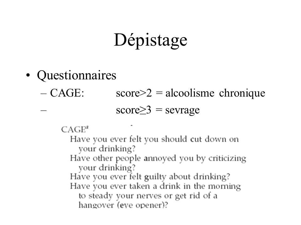 Dépistage Questionnaires CAGE: score>2 = alcoolisme chronique