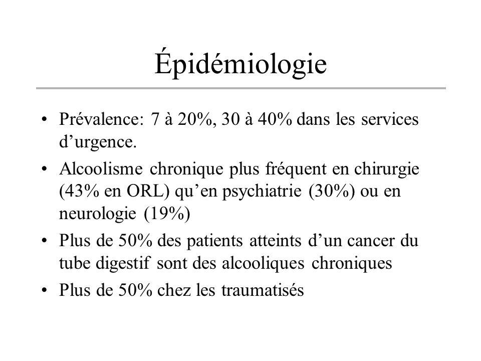 Épidémiologie Prévalence: 7 à 20%, 30 à 40% dans les services d'urgence.