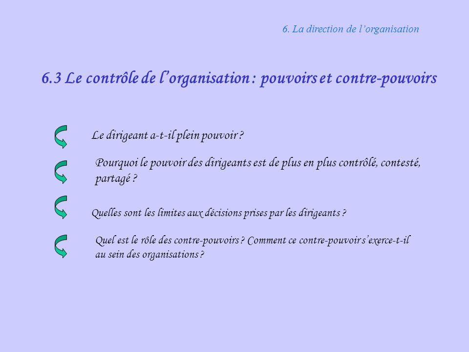 6.3 Le contrôle de l'organisation : pouvoirs et contre-pouvoirs