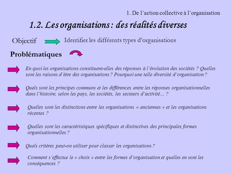 1. De l'action collective à l'organisation