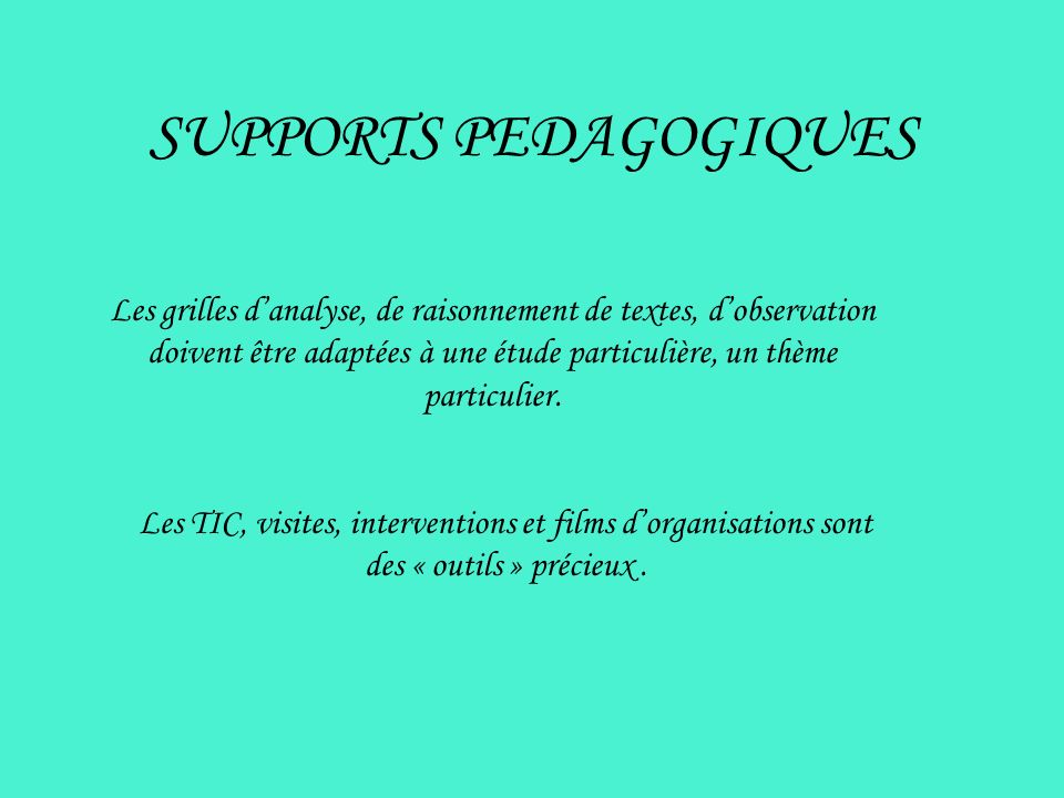 SUPPORTS PEDAGOGIQUES