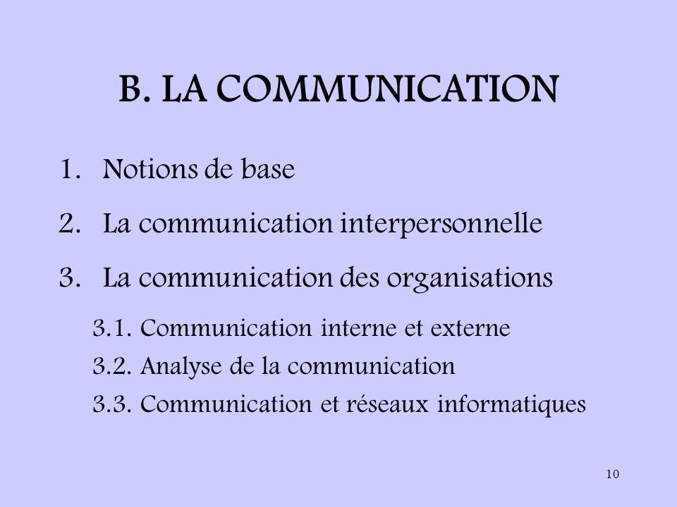 B. LA COMMUNICATION Notions de base La communication interpersonnelle