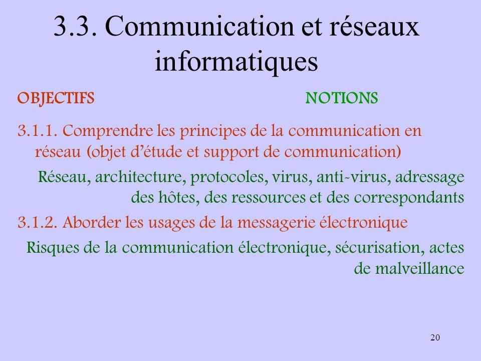 3.3. Communication et réseaux informatiques