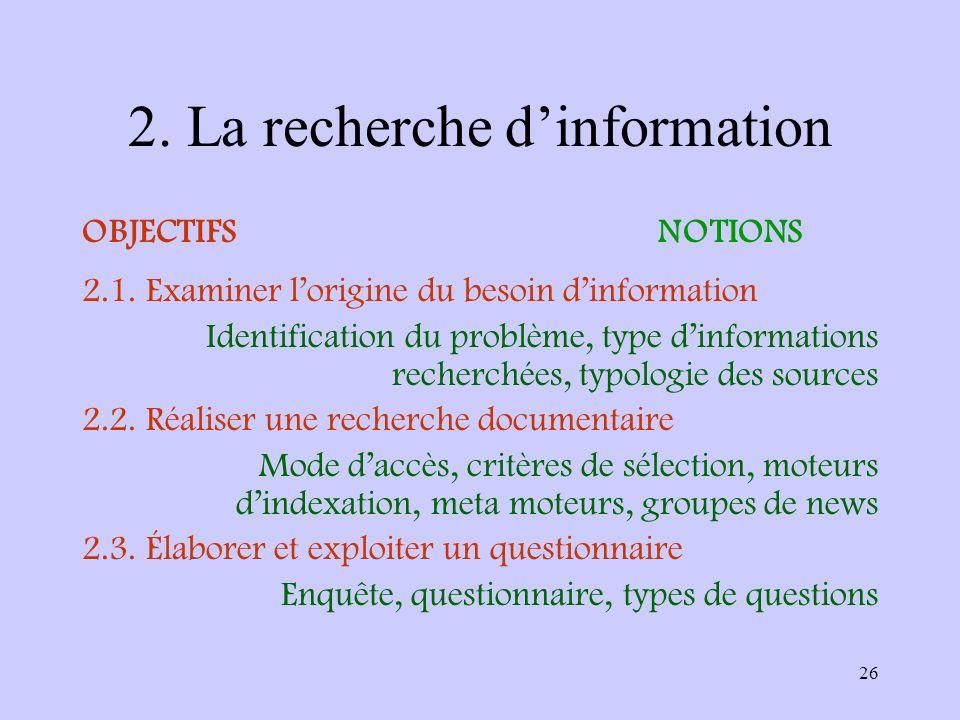 2. La recherche d'information