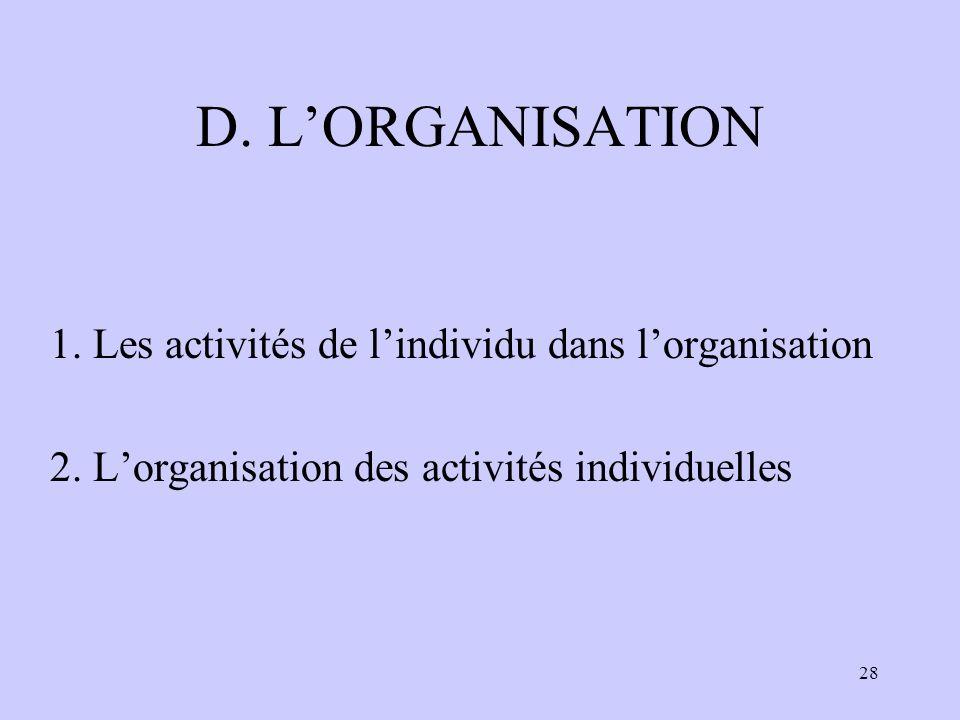 D. L'ORGANISATION 1. Les activités de l'individu dans l'organisation