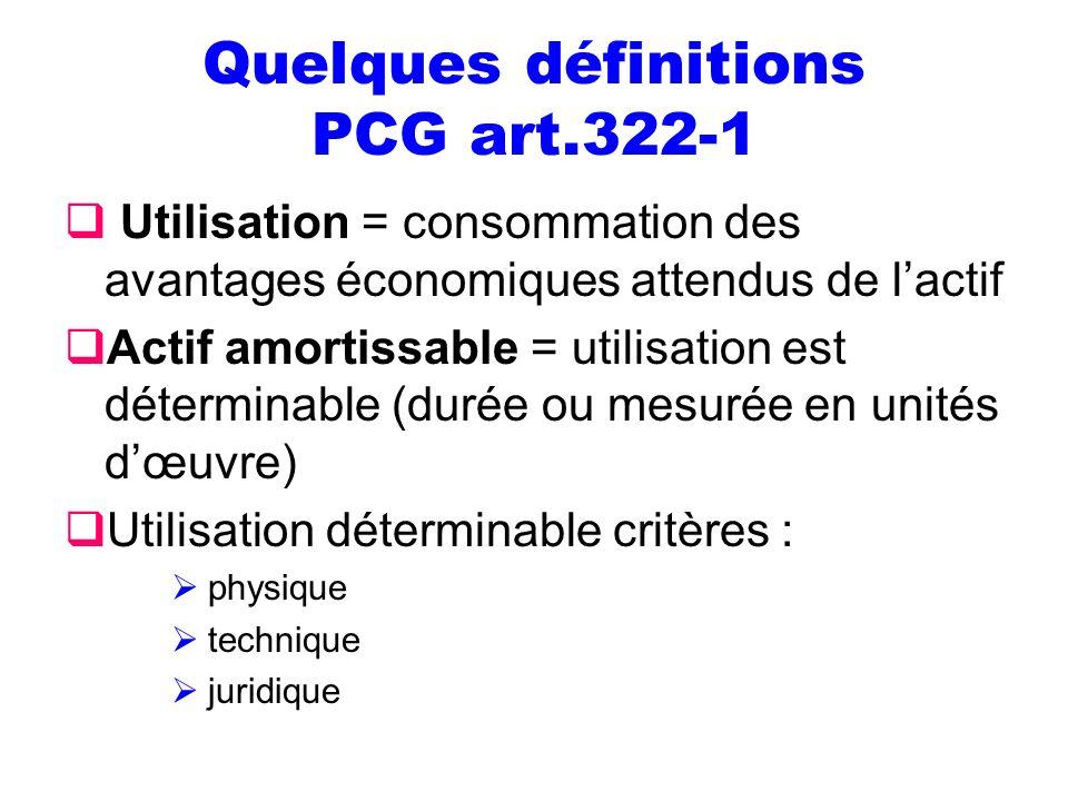 Quelques définitions PCG art.322-1