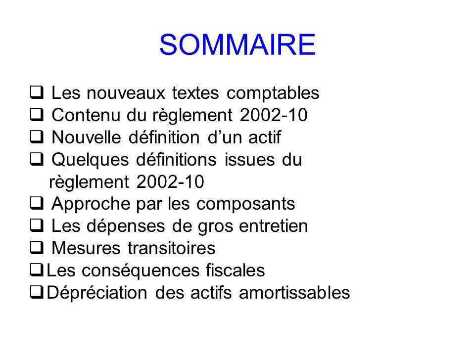 SOMMAIRE Les nouveaux textes comptables Contenu du règlement 2002-10