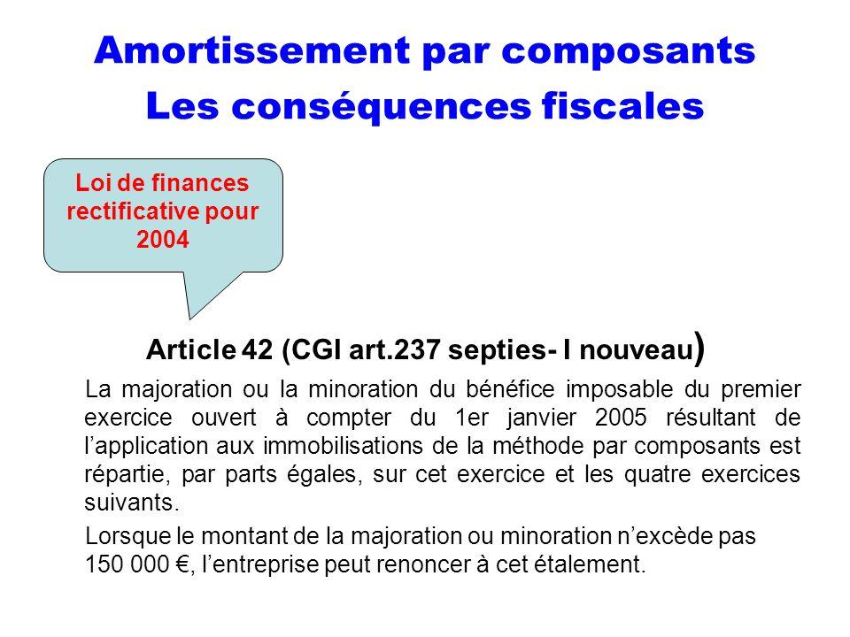 Amortissement par composants Les conséquences fiscales
